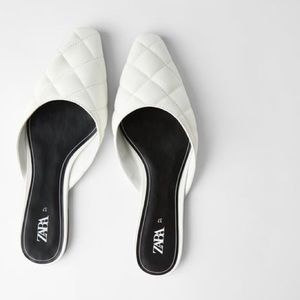 Zara Quilted White Flat Mules